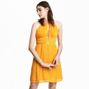 H&M Pleated Halter Marigold Flowy Summer Dress